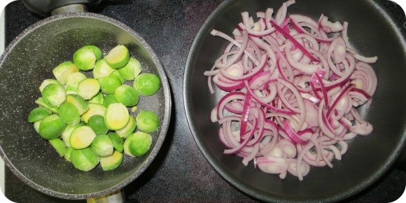 Sprouts with caramalised red onions